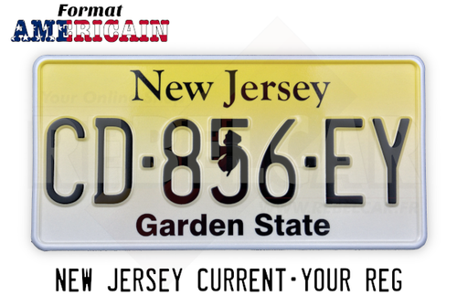 "US NEW JERSEY ""GARDEN STATE"" YELLOW REFLECTIVE license plate with WHITE BORDER, size 300x150 mm / 12x6"""