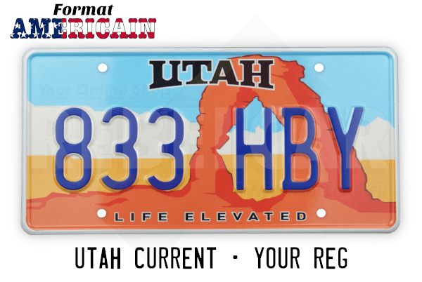"""US UTAH """"LIFE ELEVATED"""" license plate with Delicate Arch, WHITE BORDER, size 300x150 mm / 12x6"""""""