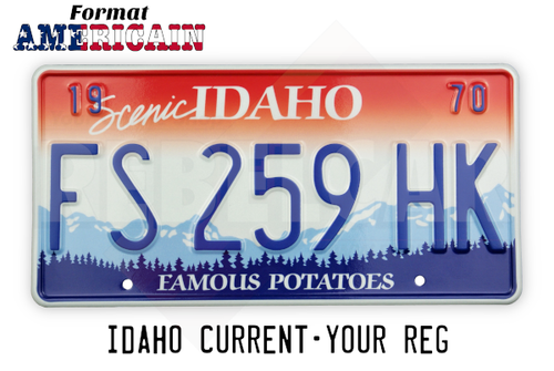 "US IDHAO ""FAMOUS POTATOES"" license plate with mountain scene, red and white gradient sky, WHITE BORDER, size 300x150 mm / 12x6"""