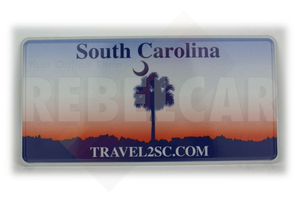 """US SOUTH CAROLINA """"TRAVEL2SC.COM"""" license plate with sabal palmetto and sunset colors, WHITE BORDER, size 300x150 mm / 12x6"""""""
