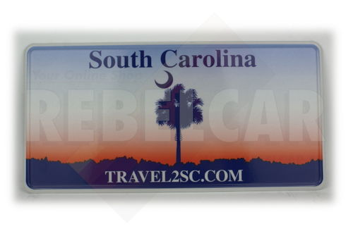 "US SOUTH CAROLINA ""TRAVEL2SC.COM"" license plate with sabal palmetto and sunset colors, WHITE BORDER, size 300x150 mm / 12x6"""