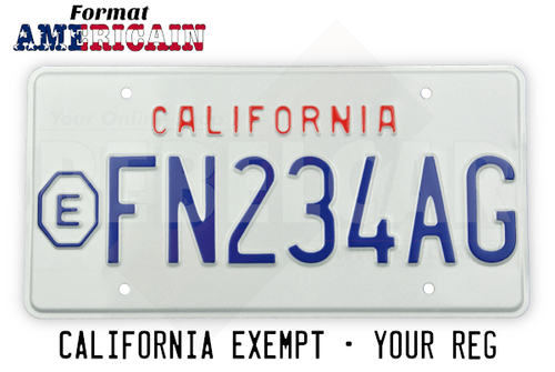 US CALIFORNIA EXEMPT WHITE reflective license plate with small EMBOSSED text CALIFORNIA at 25mm distance, EXEMPT sign on the left and COUNTER-EMBOSSED BORDER, size 300x150 mm / 12x6""
