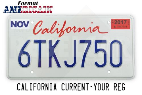 US CALIFORNIA WHITE reflective license plate with graphic italic red California screen printed, COUNTER-EMBOSSED BORDER and 4 ROUND MOUNTING HOLES, size 300x150 mm / 12x6""