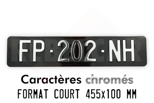 GLOSS BLACK aluminum license plate, size 455x100 mm WITHOUT BORDER (FLAT) with SILVER-CHROME COLOR digits