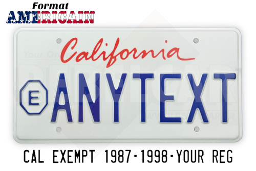 US CALIFORNIA EXEMPT WHITE reflective license plate with italic screen printed California text, EXEMPT sign on the left and COUNTER-EMBOSSED BORDER, size 300x150 mm / 12x6""