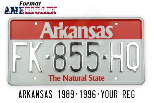 "US ARKANSAS ""THE NATURAL STATE"" WHITE REFLECTIVE license plate with RED BAND AT TOP, WHITE BORDER, size 300x150 mm / 12x6"""