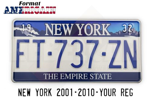 "US NEW YORK ""THE EMPIRE STATE"" WHITE REFLECTIVE license plate with Niagara Falls, Adirondack Mountains, and New York City on the top, WHITE BORDER, size 300x150 mm / 12x6"""