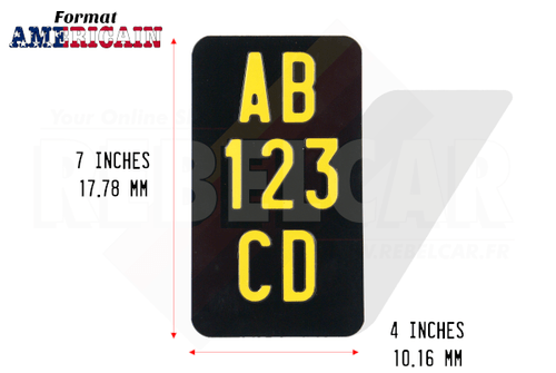 "3-LINES-VERTICAL shiny BLACK motorcycle license plate size 7x4"" / 177,8x101,6 mm with no border, with YELLOW DIGITS"