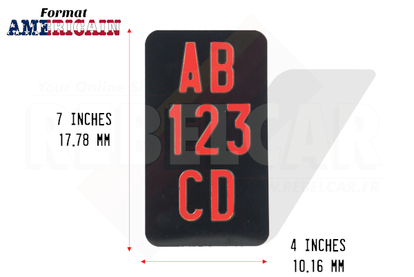 """3-LINES-VERTICAL shiny BLACK motorcycle license plate size 7x4"""" / 177,8x101,6 mm with no border, with RED DIGITS"""