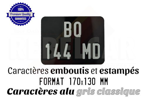 Aluminum GLOSSY BLACK 170x130 mm motorcycle license plate WITHOUT BORDER (flat) with EMBOSSED and HOT-STAMPED DIGITS WITH GREY ALUMINUM COLOR