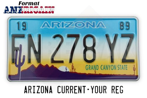 "US ARIZONA ""GRAND CANYON STATE"" REFLECTIVE license plate with desert scene featuring cactus, mountains and yellow to blue gradient sky, WHITE BORDER, size 300x150 mm / 12x6"" - note to the workshop : attention, reflective version"