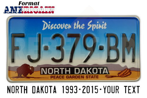 "US NORTH DAKOTA ""PEACE GARDEN STATE"" REFLECTIVE license plate with grey mountains and yellow grass, bison and three wheat stalks, WHITE BORDER, size 300x150 mm / 12x6"""