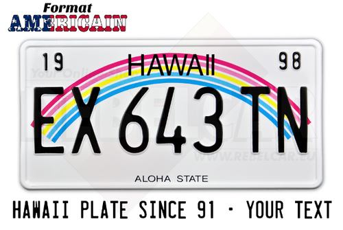 "US HAWAII ""ALOHA STATE"" non-reflective license plate with rainbow graphic, WHITE BORDER, size 300x150 mm / 12x6"" - note to the workshop : non-reflective version"