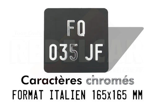 2-LINES-HORIZONTAL MATT BLACK motorcycle license plate italian size 165x165 mm without border (flat), with SILVER-CHROME DIGITS