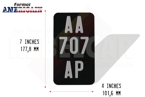 "3-LINES-VERTICAL shiny BLACK motorcycle license plate size 7x4"" / 177,8x101,6 mm with no border, with SILVER DIGITS"