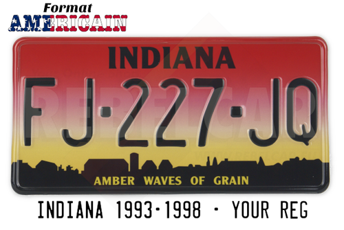 "US INDIANA ""AMBER WAVES OF GRAIN"" REFLECTIVE license plate with grandient yellow to red and bottom shadow city background, size 300x150 mm / 12x6"""