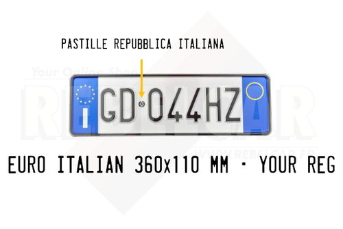 WHITE REFLECTIVE EMBOSSED ITALIAN aluminum license plate with EU I LOGO on the left and BLUE LOGO WITH ORANGE CIRCLE on the right, BLACK BORDER, size 360x110 mm