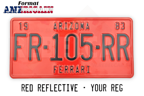 US EMBOSSED RED REFLECTIVE license plate with RED BORER size 300x150 mm / 12x6""