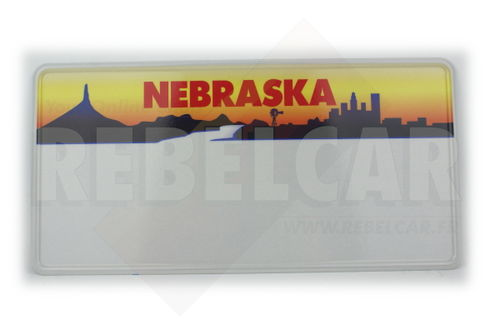 US EMBOSSED NEBRASKA WHITE REFLECTIVE license plate with yellow graphic at top featuring Chimney Rock and city skyline, WHITE BORER size 300x150 mm / 12x6""