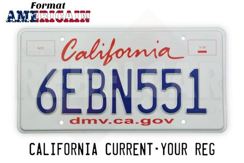 US CALIFORNIA WHITE REFLECTIVE license plate with graphic italic red California, 2 red frames, DMV.CA.GOV, COUNTER-EMBOSSED BORDER and 4 ROUND MOUNTING HOLES, size 300x150 mm / 12x6""