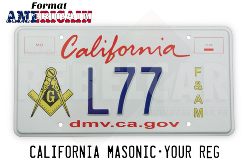 US CALIFORNIA WHITE REFLECTIVE license plate with graphic italic red California, 2 red frames, MASONIC LOGO, F&AM, DMV.CA.GOV, COUNTER-EMBOSSED BORDER and 4 ROUND MOUNTING HOLES, size 300x150 mm / 12x6""