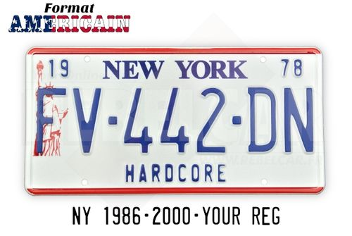 US EMBOSSED NEW YORK WHITE license plate with LIBERTY STATUE ON THE LEFT, 2 RED BANDS, WHITE BORDER, size 300x150 mm / 12x6""