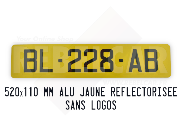 YELLOW Retro reflective plate 520x110 mm with LISERÉ BLACK, WITHOUT LOGOS