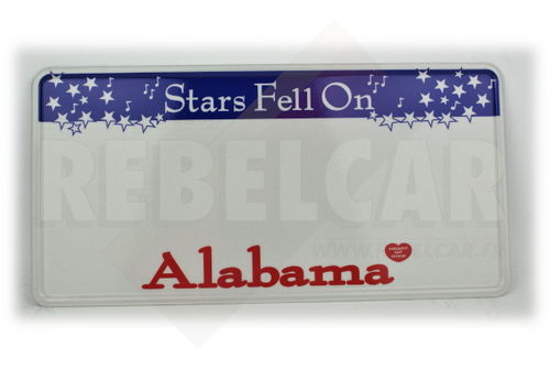 US EMBOSSED ALABAMA reflective license plate with blue bar with white falling stars and musical notes at top, Alabama screened in red centered at bottom, WHITE BORDER, size 300x150 mm / 12x6""