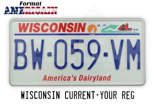 US EMBOSSED WISCONSIN reflective license plate with red state name, sailboat and sunset, flying geese, and farm scene, WHITE BORDER, size 300x150 mm / 12x6""