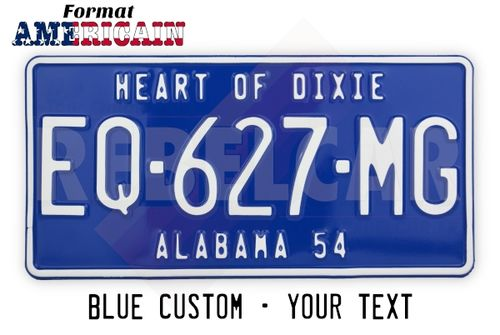 US EMBOSSED BLUE NON-REFLECTIVE license plate with BORDER PAINTED IN THE SAME COLOR THAN THE REGISTRATION NUMBER, size 300x150 mm / 12x6""