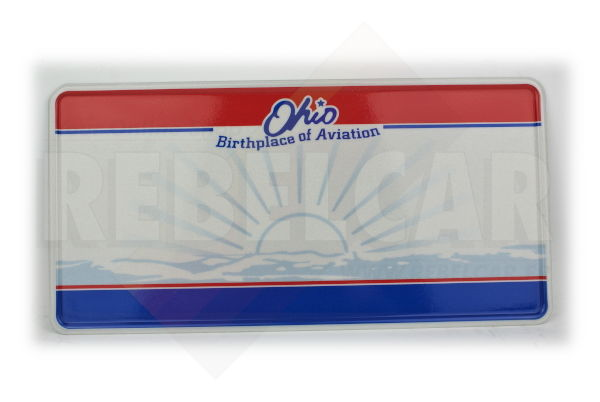 """US EMBOSSED REFLECTIVE OHIO """"Birthlace of Aviation"""" license plate with Sunburst, state seal graphic, red and blue bars, white border, size 300x150 mm / 12x6"""" - VERSION WITH ORIGINAL STRONG FILIGRAN"""