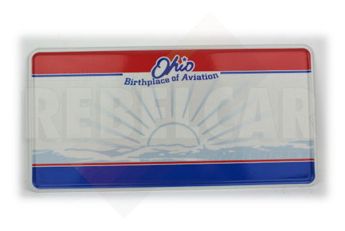 "US EMBOSSED REFLECTIVE OHIO ""Birthlace of Aviation"" license plate with Sunburst, state seal graphic, red and blue bars, white border, size 300x150 mm / 12x6"" - VERSION WITH ORIGINAL STRONG FILIGRAN"