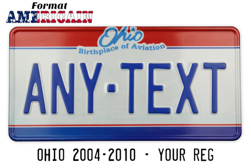 "US EMBOSSED REFLECTIVE OHIO ""Birthlace of Aviation"" license plate, state seal graphic, red and blue bars, white border, size 300x150 mm / 12x6"" - VERSION WITH VERY LIGHT FILIGRAN"