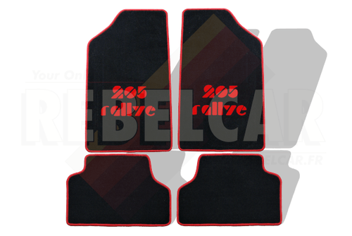 BLACK velvet floor mats for 205 Rallye with RED BORDER and RED CENTRAL HORIZONTAL LOGOS
