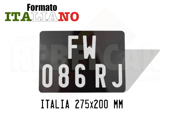 ITALIAN GLOSSY BLACK 275x200 mm collection license plate WITHOUT BORDER (flat) with EMBOSSED and HOT-STAMPED DIGITS in WHITE COLOR