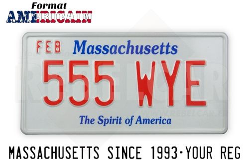 US EMBOSSED MASSACHUSETTS reflective license plate with Massachusetts screened in blue at top and The Spirit of America in blue at bottom, WHITE BORDER, size 300x150 mm / 12x6""