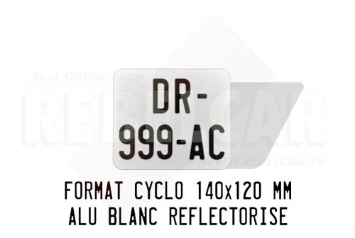 FLAT WHITE REFLECTIVE bike license plate 140x120 mm with LISERÉ BLACK, WITHOUT BORDER, WITHOUT LOGOS