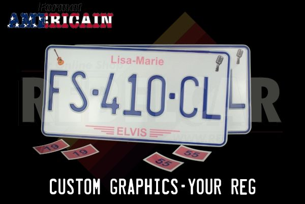 """PAIR OF 2 US EMBOSSED license plates with CUSTOM DESIGN, size 300x150 mm / 12x6"""" - package including: 1 hour of graphic service, 1 proof, and 1 set of plates"""
