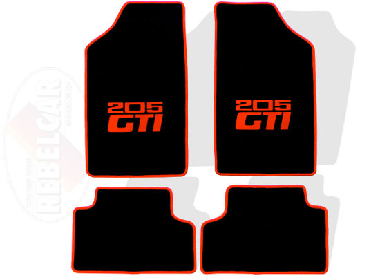 BLACK 205 GTI VELVET floor mat set  with RED HORIZONTAL LOGOS (CENTRAL postion) and RED BORDER - NO HEELPAD