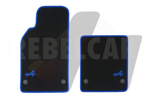 BLACK VELVET Alpine A110 2018 >> floor mats set (1 short and 1 long) with BLUE LOGO, BLUE BORDER and PLASTIC CLIPS