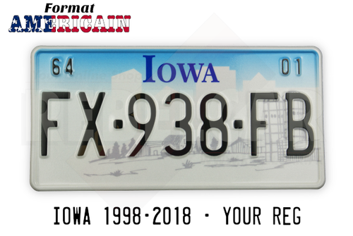 US EMBOSSED IOWA reflective license plate with blue sky, white city skyline and gray farm scene, WHITE BORDER, size 300x150 mm / 12x6""