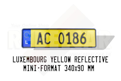 YELLOW REFLECTIVE EMBOSSED LUXEMBOURG aluminum license plate with EU L LOGO on the left, BLACK BORDER, size 340x90 mm