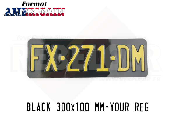 """EMBOSSED GLOSSY BLACK license plate with NO BORDER (flat), size 300x100 mm / 11,8x3,9"""" - US FONT"""