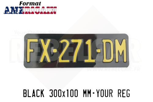 "EMBOSSED GLOSSY BLACK license plate with NO BORDER (flat), size 300x100 mm / 11,8x3,9"" - US FONT"