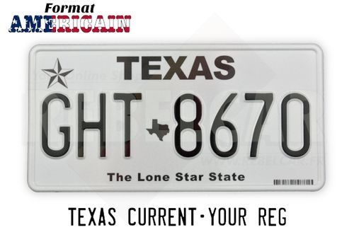 "US EMBOSSED TEXAS reflective license plate lone star, TEXAS upper black text, texas state shape, ""The Lone Star State"" at bottom and barcode, WHITE BORDER, size 300x150 mm / 12x6"""