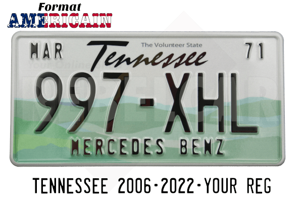 """US EMBOSSED TENNESSEE reflective license plate with white sky and green rolling hills; Tennessee screened in black centered above serial, WHITE BORDER, size 300x150 mm / 12x6"""""""