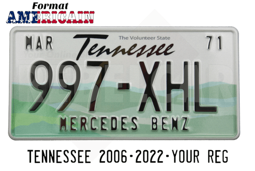 US EMBOSSED TENNESSEE reflective license plate with white sky and green rolling hills; Tennessee screened in black centered above serial, WHITE BORDER, size 300x150 mm / 12x6""