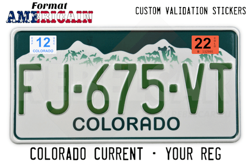US EMBOSSED COLORADO reflective license plate with white and grey mountains against dark green background, green COLORADO at bottom, WHITE BORDER, size 300x150 mm / 12x6""