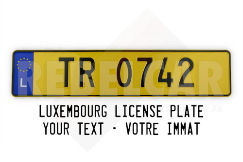 YELLOW REFLECTIVE EMBOSSED LUXEMBOURG aluminum license plate with EU L LOGO on the left, BLACK BORDER, size 520*110 mm