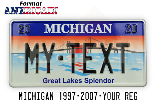 "US MICHIGAN REFLECTIVE license plate ""Great Lakes Splendor"" featuring a sunset and the Mackinac Bridge, with WHITE BORDER, size 300x150 mm / 12x6"""